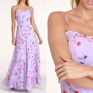 BRAND NEW LULU'S FLORAL PRINT TIERED MAXI DRESS